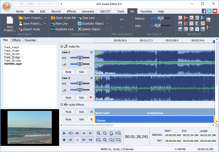 Avs audio editor record audio cut mix audio files delete audio