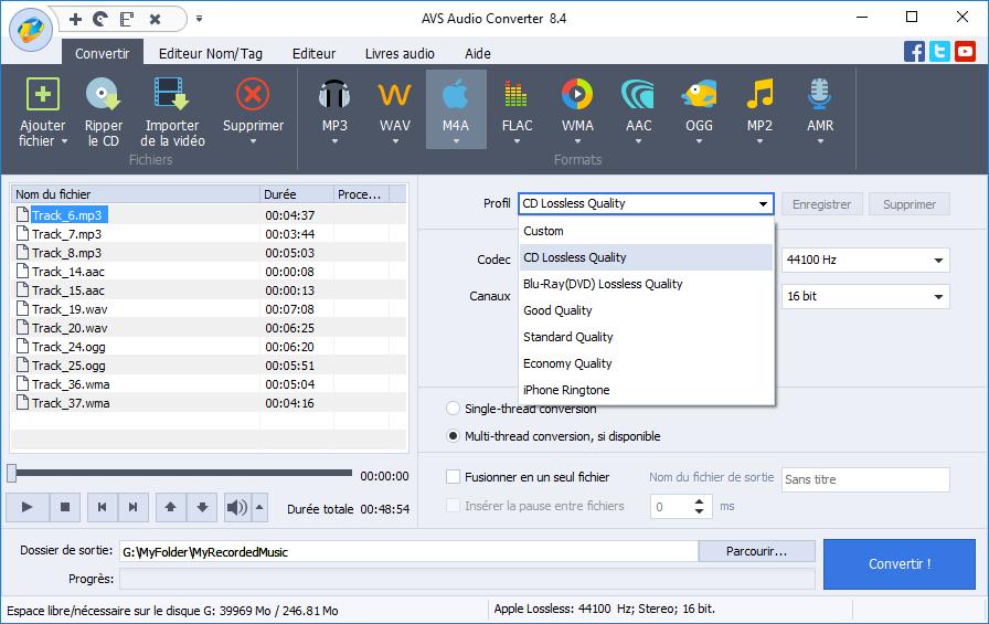 Any Audio Convertisseur est désigné pour extraire l'audio des vidéos et convertir  des ... Il peut convertir audio entre les formats MP3, WMA, WAV, AAC, M4A et  OGG, etc et ... Diviser les albums, les podcasts, les fichiers en FLAC, MP3, APE,  WAV, WMA, ... Il peut télécharger en lots des vidéos en ligne à partir de YouTube, ...